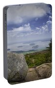 Scenic View With Boulder On Top Of Cadilac Mountain Portable Battery Charger