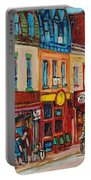 Schwartzs Deli And Warshaw Fruit Store Montreal Landmarks On St Lawrence Street  Portable Battery Charger