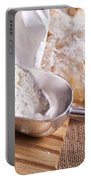 Scoop Of Flour And Fresh Bread Portable Battery Charger