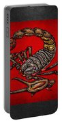 Scorpion On Red And Black Leather Portable Battery Charger