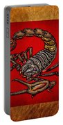 Scorpion On Red And Brown Leather Portable Battery Charger