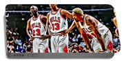 Scottie Pippen With Michael Jordan And Dennis Rodman Portable Battery Charger