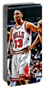 Scottie Pippen With Michael Jordan And Dennis Rodman Portable Battery Charger by Florian Rodarte