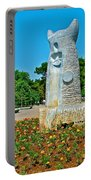Sculpture And Flowers In Antalya Park Along Mediterranean Coast-turkey  Portable Battery Charger