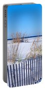 Sea Oats And Fence Along White Sand Portable Battery Charger