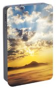 Sea Of Clouds On Sunrise With Ray Lighting Portable Battery Charger