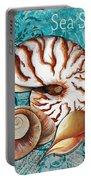 Sea Shells Original Coastal Painting Colorful Nautilus Art By Megan Duncanson Portable Battery Charger by Megan Duncanson