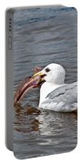 Seagull Eating Huge Fish In Water Art Prints Portable Battery Charger
