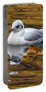 Seagull Resting Among Fall Leaves Portable Battery Charger