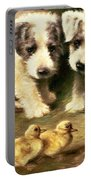 Sealyham Puppies And Ducklings Portable Battery Charger by Lilian Cheviot