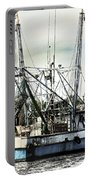 Seasoned Fishing Boat Portable Battery Charger by Debra Forand
