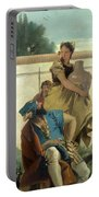 Seated Man Woman With Jar And Boy Portable Battery Charger