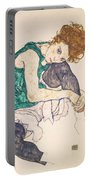 Seated Woman With Legs Drawn Up. Adele Herms Portable Battery Charger