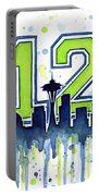Seattle Seahawks 12th Man Art Portable Battery Charger by Olga Shvartsur