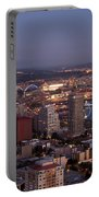 Seattle Skyline With Mount Rainier And Downtown City Lights Portable Battery Charger
