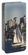 Seattle Skyline With Sailboats Portable Battery Charger