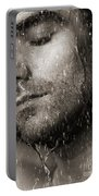 Sensual Portrait Of Man Face Under Pouring Water Black And White Portable Battery Charger