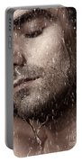 Sensual Portrait Of Man Face Under Pouring Water Portable Battery Charger