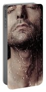 Sensual Portrait Of Man Face Under Shower Portable Battery Charger