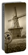 Sepia Colored No Tilting At Windmills Portable Battery Charger