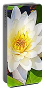 Serenity In White - Water Lily Portable Battery Charger