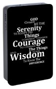 Serenity Prayer 5 - Simple Black And White Portable Battery Charger