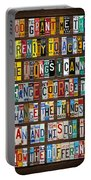 Serenity Prayer Reinhold Niebuhr Recycled Vintage American License Plate Letter Art Portable Battery Charger