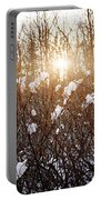 Setting Sun In Winter Forest Portable Battery Charger