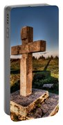 Setting Sun On A Cross By The Trenches Portable Battery Charger
