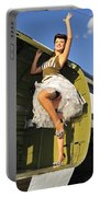Sexy 1940s Style Pin-up Girl Standing Portable Battery Charger by Christian Kieffer