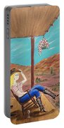 Sexy Cowgirl Sitting On A Chair At High Noon Portable Battery Charger