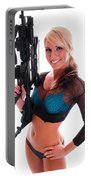 Sexy Woman Holding An Ar15 Portable Battery Charger