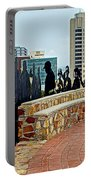 Shadow Representations Of People Coming To The Port In Donkin Reserve In Port Elizabeth-south Africa   Portable Battery Charger