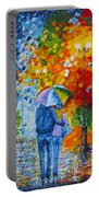 Sharing Love On A Rainy Evening Original Palette Knife Painting Portable Battery Charger