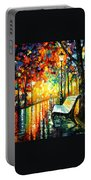 She Left... - Palette Knife Oil Painting On Canvas By Leonid Afremov Portable Battery Charger
