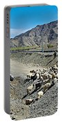 Sheep Crossing The Road To Shigatse-tibet  Portable Battery Charger
