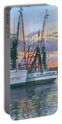 Shem Creek Shrimpers Charleston  Portable Battery Charger by Richard Harpum