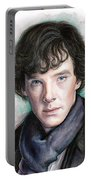 Sherlock Holmes Portrait Benedict Cumberbatch Portable Battery Charger by Olga Shvartsur