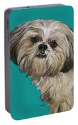 Shih Tzu On Turquoise Portable Battery Charger