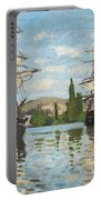 Ships Riding On The Seine At Rouen Portable Battery Charger