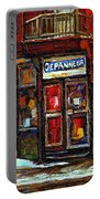 Shops And Streets Of St Henri- Montreal Paintings Depanneur Coca Cola Winter City Scenes Portable Battery Charger