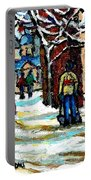 Shovelling Out After January Storm Verdun Streets Clad In Winter Whites Montreal Painting C Spandau Portable Battery Charger