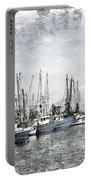 Shrimp Boats Sketch Photo Portable Battery Charger