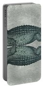 Siamese Twins Blue And Green Crocodiles On Sage Green Stone Portable Battery Charger