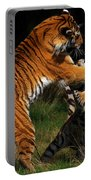 Siberian Tigers In Fight Portable Battery Charger