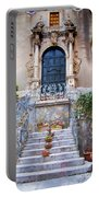 Sicilian Village Steps And Door Portable Battery Charger by David Smith