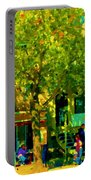 Sidewalk Cafe Rue St Denis Dappled Sunlight Shade Trees Joys Of Montreal City Scene  Carole Spandau Portable Battery Charger