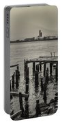 Siglufjordur Old Pier Black And White Portable Battery Charger