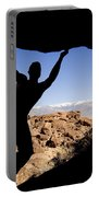Silhouette Of A Rock Climber Portable Battery Charger