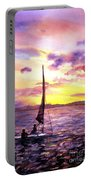 Silhouette Of Boat And Sailors On Torch Lake Michigan Usa Portable Battery Charger